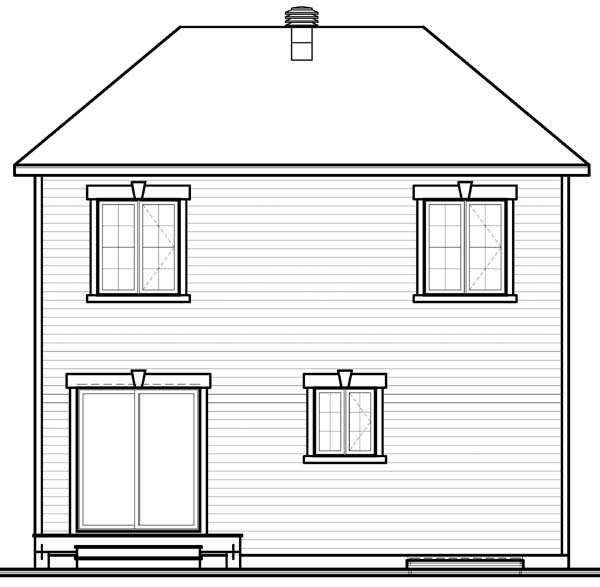 European House Plan 65507 Rear Elevation