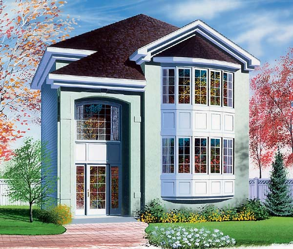 Contemporary , European House Plan 65509 with 3 Beds, 2 Baths Elevation