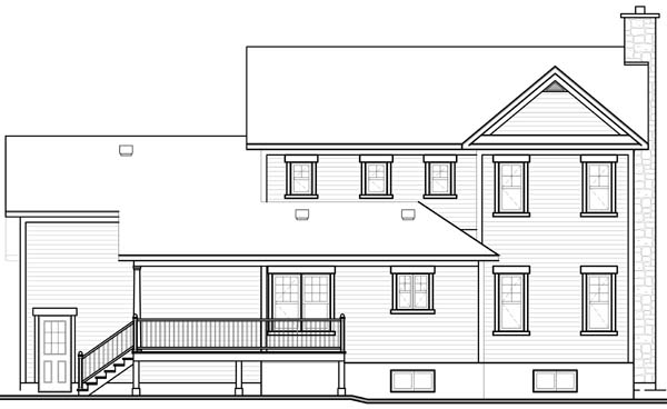 Country Farmhouse Traditional Rear Elevation of Plan 65510