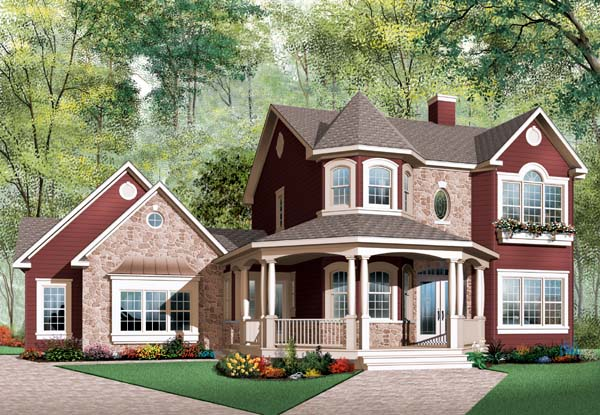 Country , European , Victorian House Plan 65513 with 3 Beds, 3 Baths, 2 Car Garage Elevation