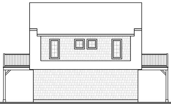 Country Farmhouse Ranch Garage Plan 65516 Rear Elevation