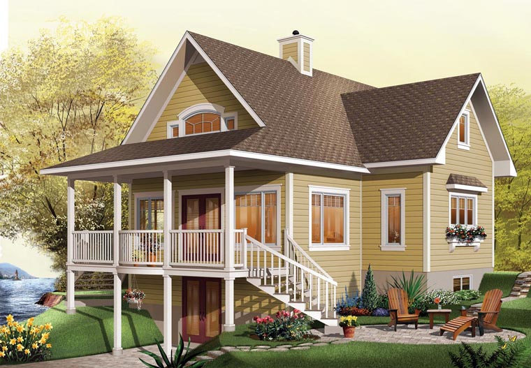 Coastal , Country , Craftsman , Traditional , Elevation of Plan 65517