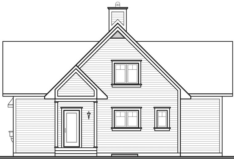 Coastal , Country , Craftsman , Traditional , Rear Elevation of Plan 65517