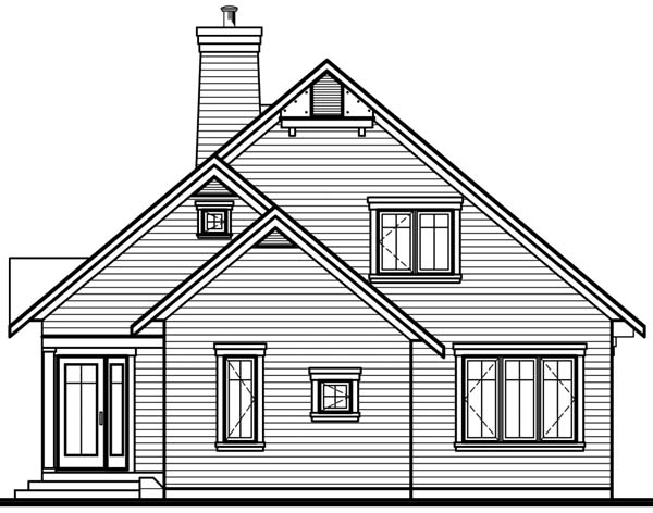 Country Craftsman Rear Elevation of Plan 65518