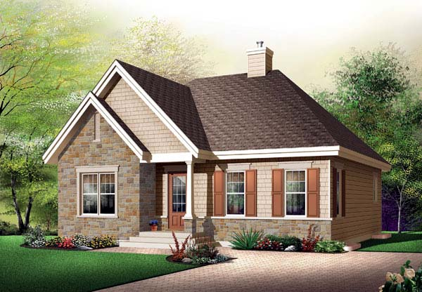 Bungalow, Country House Plan 65521 with 2 Beds , 1 Baths Elevation