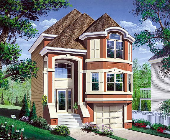 House Plan 65526 | European Victorian Style Plan with 1564 Sq Ft, 3 Bedrooms, 2 Bathrooms, 1 Car Garage Elevation