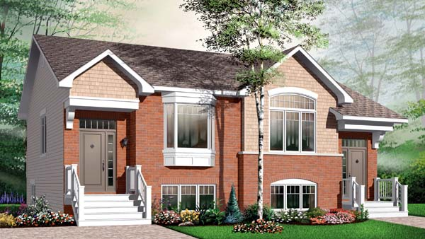 Craftsman Multi-Family Plan 65531 Elevation