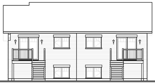 Craftsman Multi-Family Plan 65531 Rear Elevation