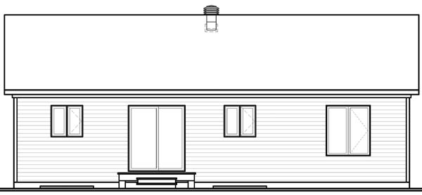 Bungalow House Plan 65535 with 3 Beds, 1 Baths Rear Elevation