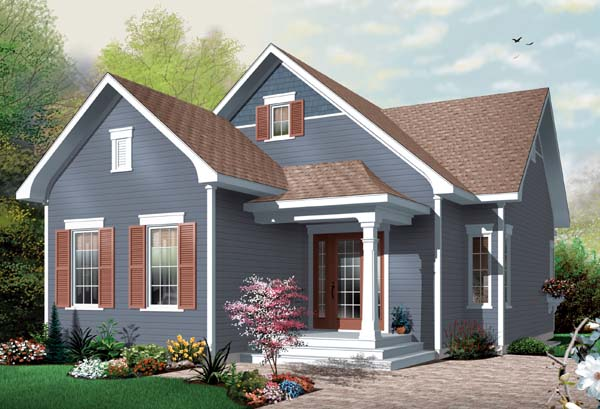 Bungalow House Plan 65536 with 2 Beds, 1 Baths Front Elevation
