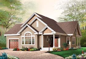 House Plan 65540 | Bungalow Style House Plan with 1456 Sq Ft, 3 Bed, 1 Bath, 1 Car Garage Elevation