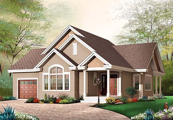 Bungalow House Plan 65540 with 3 Beds, 1 Baths, 1 Car Garage Elevation