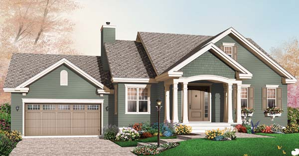 Bungalow , Craftsman House Plan 65541 with 2 Beds, 1 Baths, 2 Car Garage Elevation