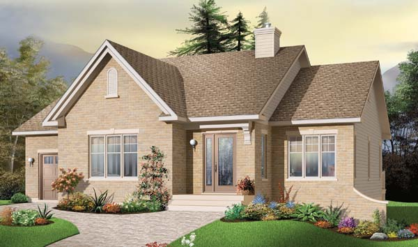 European House Plan 65542 with 2 Beds, 1 Baths, 1 Car Garage Elevation