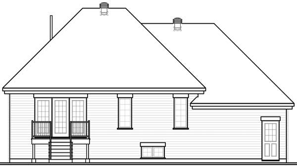 Bungalow European House Plan 65543 Rear Elevation