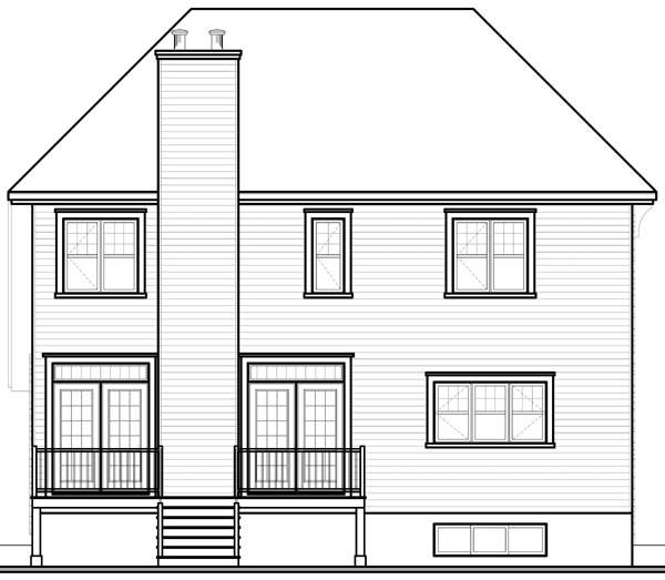 European House Plan 65550 Rear Elevation