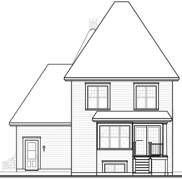 European, Victorian House Plan 65552 with 3 Beds, 3 Baths, 1 Car Garage Rear Elevation