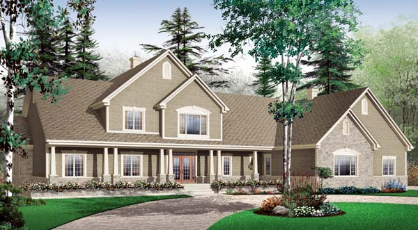 Country , Ranch , Elevation of Plan 65557