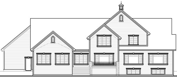 Country , Ranch , Rear Elevation of Plan 65557