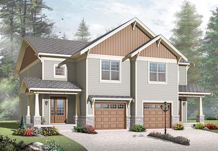 Craftsman Multi-Family Plan 65559 with 6 Beds, 4 Baths, 2 Car Garage Elevation