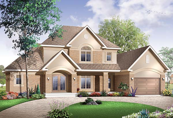 House Plan 65561 | European Style Plan with 2812 Sq Ft, 4 Bedrooms, 4 Bathrooms, 3 Car Garage Elevation