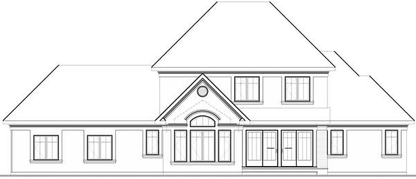 House Plan 65561 | European Style Plan with 2812 Sq Ft, 4 Bedrooms, 4 Bathrooms, 3 Car Garage Rear Elevation