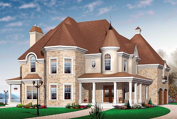 European, Traditional House Plan 65563 with 3 Beds, 4 Baths, 2 Car Garage Elevation