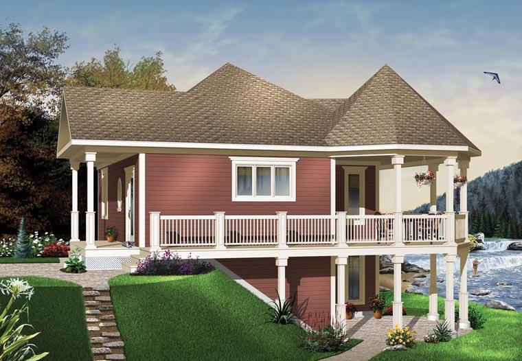 Victorian , Country , Cottage House Plan 65566 with 1 Beds, 1 Baths Elevation
