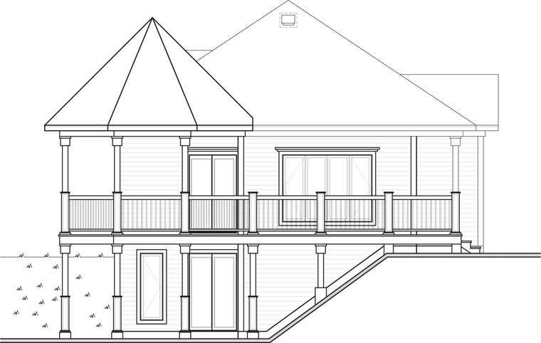 Cottage, Country, Victorian House Plan 65566 with 1 Beds, 1 Baths Rear Elevation