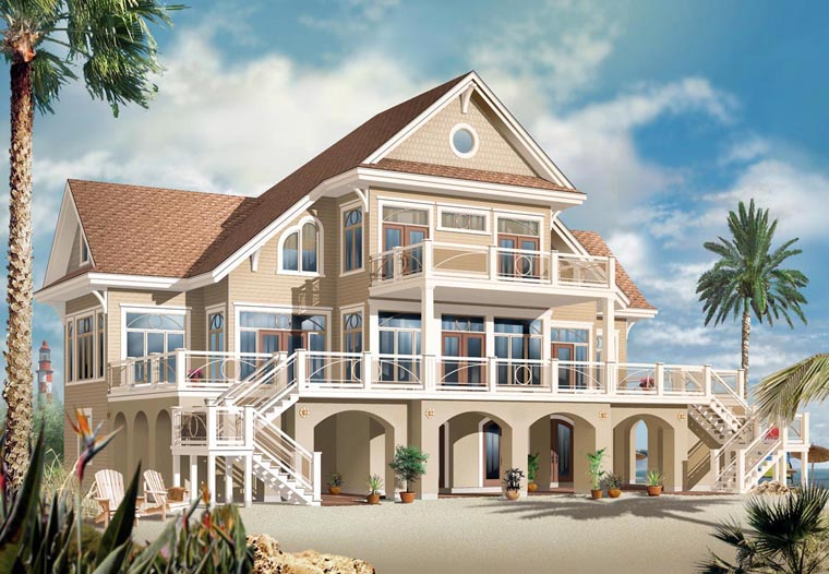 Coastal, Florida, Mediterranean House Plan 65568 with 4 Beds, 4 Baths, 2 Car Garage Elevation