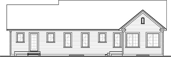 Rear Elevation of Plan 65574