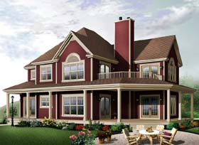 Country , Farmhouse , Traditional House Plan 65581 with 4 Beds, 3 Baths, 2 Car Garage Elevation