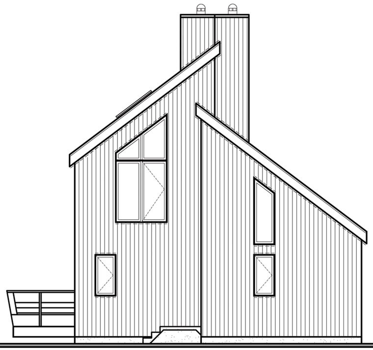Rear Elevation of Plan 65586