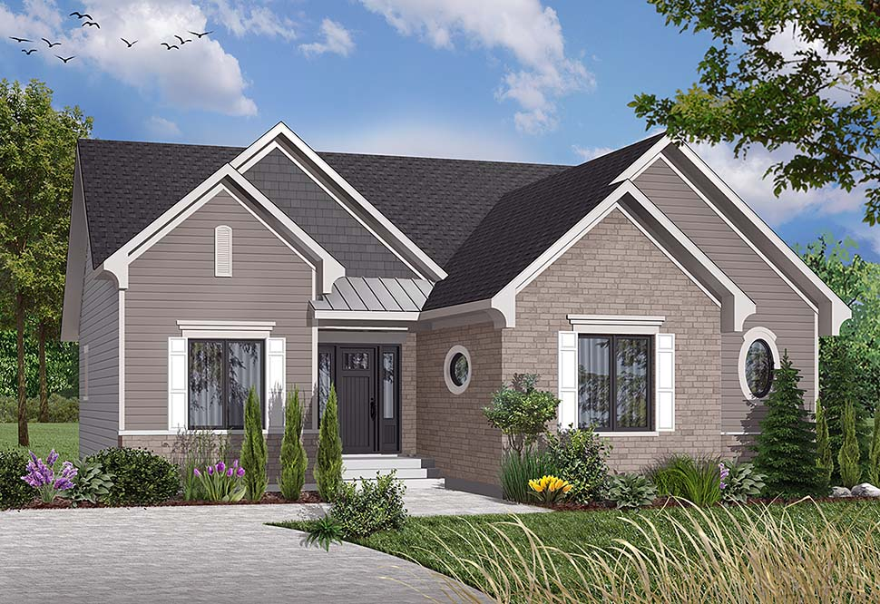 European , Country , Bungalow House Plan 65590 with 3 Beds, 1 Baths Elevation