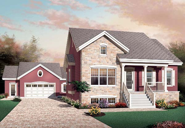 Bungalow , Country , European House Plan 65593 with 3 Beds, 1 Baths Elevation