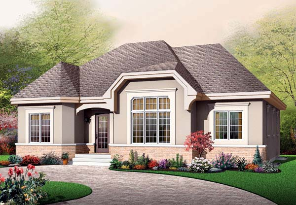 Bungalow, European House Plan 65595 with 3 Beds , 1 Baths Elevation