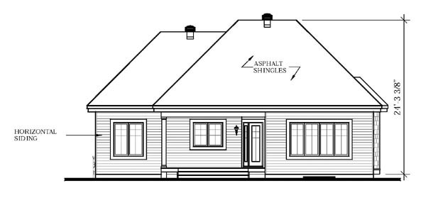 Bungalow Country House Plan 65596 Rear Elevation