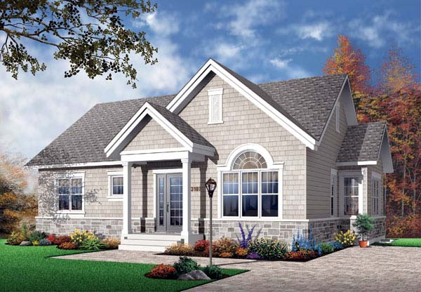 House Plan 65597 | Bungalow Craftsman Style Plan with 1124 Sq Ft, 3 Bedrooms, 1 Bathrooms Elevation