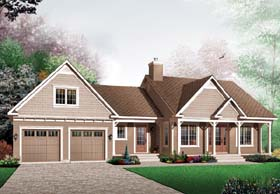 Traditional , Ranch , Country House Plan 65598 with 2 Beds, 1 Baths, 2 Car Garage Elevation