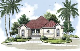 House Plan 65602   Florida Mediterranean Style Plan with 2111 Sq Ft, 3 Bedrooms, 2 Bathrooms, 2 Car Garage Elevation