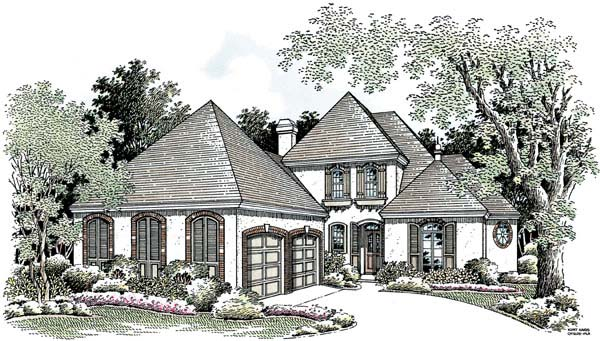 European Southern House Plan 65604 Elevation