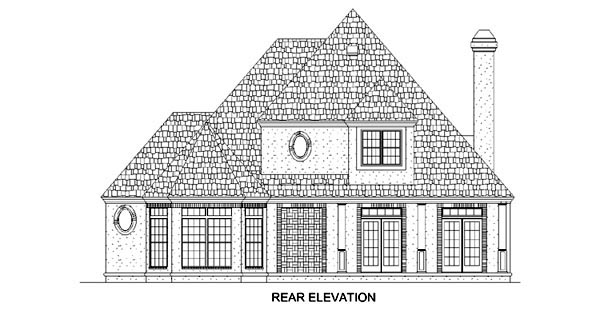 European Southern House Plan 65604 Rear Elevation