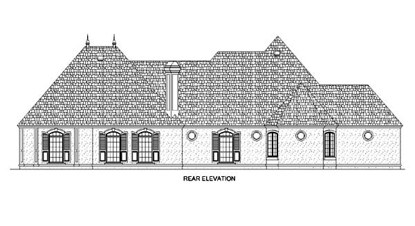 European House Plan 65607 Rear Elevation