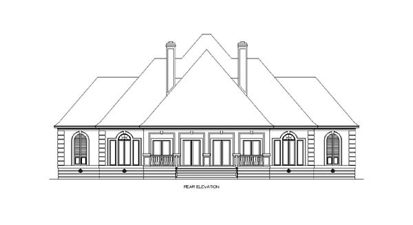 European House Plan 65610 Rear Elevation