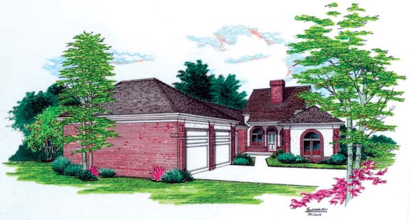 European One-Story Elevation of Plan 65611
