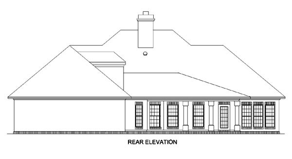 Colonial European Southern House Plan 65612 Rear Elevation