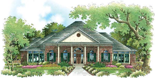 Southern , Colonial House Plan 65613 with 4 Beds, 4 Baths, 3 Car Garage Elevation