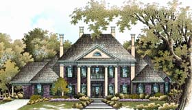 House Plan 65614 | Colonial Plantation Southern Style Plan with 4242 Sq Ft, 4 Bedrooms, 7 Bathrooms, 2 Car Garage Elevation