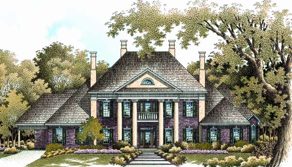 Colonial plantation southern house plan 65614 for Historic plantation house plans