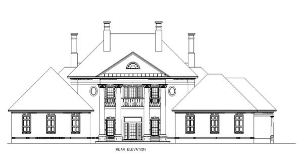 House Plan 65614 | Colonial Plantation Southern Style Plan with 4242 Sq Ft, 4 Bedrooms, 7 Bathrooms, 2 Car Garage Rear Elevation